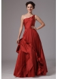 Wine Red Unique One Shoulder Taffeta Prom Dress For Custom Made In Norcross Georgia