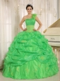 2013 Hot In Sucre City Spring Green One Shoulder Quinceaners Dress With Embroidery and Pick-ups Decorate