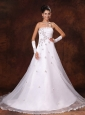 A-line Appliques Strapless Organza Court Train Custom Made Wedding Dress For Church Wedding Party