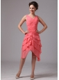 Athens Georgia Ruch and Layers V-neck Chiffon Homecoming Dress For Custom Made Watermelon Red