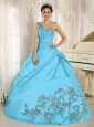 Baby Blue San Miguel de Tucumán Quinceanera Dress One Shoulder With Appliques and Beading 2013