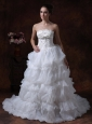 Beading A-Line Strapless Popular Tiered Skirt 2013 Wedding Dress