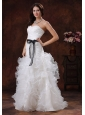 Black Sash Sweetheart Wedding Dress With Ruffled Layers In Alexander City Alabama