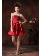 Bowknot A-Line Red Mini-length Strapless Taffeta Bridesmaid Dress