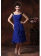 Chiffon Ruched Straps Navy Blue 2013 Tea-length Bridesmaid Dress
