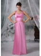 Clinton Iowa Custom Made Straps Floor-length Satin Pink Bridesmaid Dress For 2013