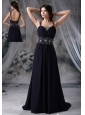 Beaded Decorate Straps and Waist Brush Train Royal Blue Chiffon Prom / Evening Dress For 2013