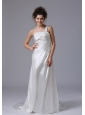 Elegant One Shoulder Column Beading Taffeta Court Train Wedding Dress