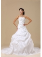 Embroidery Decorate Up Bodice Chapel Train Pick-ups Taffeta A-line 2013 Wedding Dress