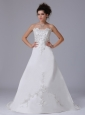 Embroidery Strapless Satin Brush / Sweep A-Line 2013 Wedding Dress