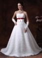 Fabric With Rolling Flower Sweetheart Wedding Dress A-Line Bowknot Brush With Beading