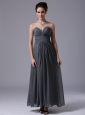 Grey Sweetheart Simple Chiffon Ankle-length Homecoming Bridesmaid Dress