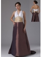 Halter and Ruched In Barstow California For 2013 Evening Dress Clorful Brush Train