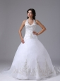 Halter Ball Gown Wedding Dress Embroidery Decorate Bodice Custom Made Brush Train