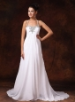 Halter Top Court Train Empire Low Cost Wedding Dress With Appliques For Custom Made In 2013