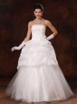 Hand Flowers Strapless Popular Tulle Wedding Dress 2013 New Arrival In Montgomery