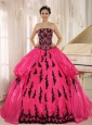 Hot Pink 2013 New Arrival Strapless Embroidery Decorate For Quinceanera Dress In Montero