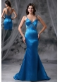 Knoxville Iowa Mermaid Blue Beaded Decorate Straps and Bust Brush Train 2013 Prom / Evening dress