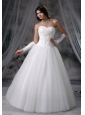 Manchester Iowa Appliques With Beading A-line Sweetheart Neckline Tulle 2013 Wedding Dress