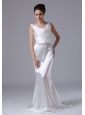Mermaid V-Neck Simple Brush / Sweep Garden / Outdoor Taffeta Low Cost Wedding Dress