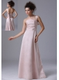 Pink One Shoulder 2013 Bridesmaid Dress Taffeta Ruched Column