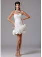 Sheath Column Sweetheart Beading 2013 Beach Short Wedding Dress With Hand Made Flowers