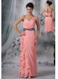 Spencer Iowa Beaded Decorate Waist Ruched Decorate One Shoulder Light Pink Chiffon Floor-length For 2013 Prom / Evening Dress