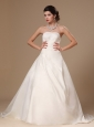 Strapless Beaded Satin Ball Gown Court Train Church Wedding Dress For 2013 Custom Made