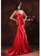 Sun City Arizona A-line Red Sweetheart Evening Dress With Brush Train Beaded Decorate On Satin
