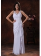Tombstone Arizona Wedding Dress With White V-neck Chiffon Appliques Decorate