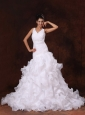 V-neck A-line Organza Chapel Train Ruffles Church Stylish Wedding Dress For Custom Made In 2013