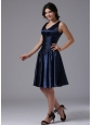 V-neck Empire and Ruch For Navy Blue Bridesmaid Dress In Bellflower California