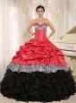 Watermelon and Black Sweetheart Ruffles Zebra Quinceanera Dress With Floor-length In Salta