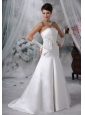 West Des Moines Iowa Appliques With Beading Satin Brush Train 2013 Low Cost Wedding Dress For New Style
