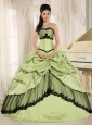 Yellow Green and Black Pick-ups Appliques Quinceanera Dress For Custom Made In Kamuela City Hawaii Taffeta