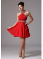 2013 Halter Beading and Ruch Stylish Homecoming Dress With Mini-length In Colorado