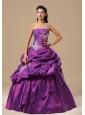 Ann Arbor Appliques Decorate Bodice Strapless Pick-ups Purple Floor-length Military Ball Gowns