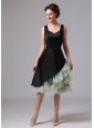 Atlanta Georgia Black and Green Straps Knee-length Mother Of The Bride Dress