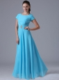 Baby Blue Scoop Bridesmaid Dress With Beading and Ruch In  Maryland