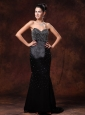 Black Sweetheart Beaded Decorate Body Stylish Celebrity Gowns Whit Brush Train For Custom Made In Opelika Alabama