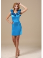 Bozeman Hand Made Flowers Decorate Scoop Neckline Mini-length Taffeta Baby Blue 2013 Prom / Homecoming Dress