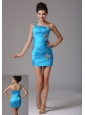 California City Stylish Baby Blue One Shoulder 2013 Prom Cocktail Dress With Beading and Ruch