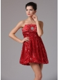 Custom Made Wine Red Empire Sequined Homecoming Dress Mini-length In California
