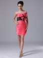 Cute tiered skirt Mini-length Coral Red Taffeta Strapless Cocktail Prom Dress