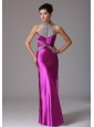 Fuchsia Halter Beaded Decorate Prom Celebrity Dress With Floor-length In Arkansas