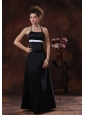 Halter Column Taffeta Floor-length Black 2013 Bridesmaid Dress