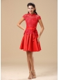 High-neck Red Mother Of The Bride Dress With Sash Lace and Taffeta In Juneau
