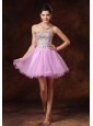Lavender Beaded Short A-line Tulle Backless Cocktail Dress For 2013 Custom Made Hottes