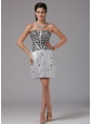 Meriden Connecticut Column Silver RhineStones Decorate Bust Prom Cocktail Dress With Mini-length