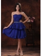 Mini-length Royal Blue Chiffon Short Prom Dress For Homecoming With Beaded Decorate Waist In Tucson Arizona